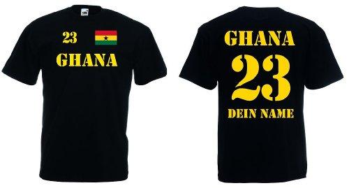 Fruit of the Loom Ghana Herren T-Shirt Trikot mit Wunschname & Nummer|schwarz S