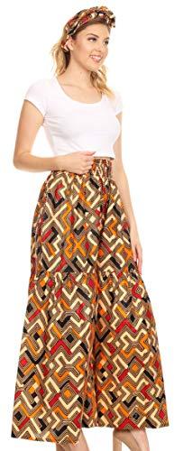 Sakkas 2251 - Pantaloni da Donna a Gamba Larga con Tasche a Zampa di Ankara africane Esme da Donna - 27-Multi-OS