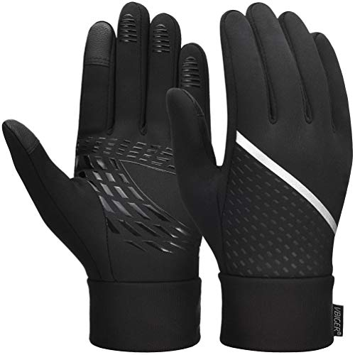 VBIGER Thickened Winter Gloves Touch Screen Gloves Cold Weather Gloves with Anti-slip Silicone and Stretchy Cuff (Negro, L)