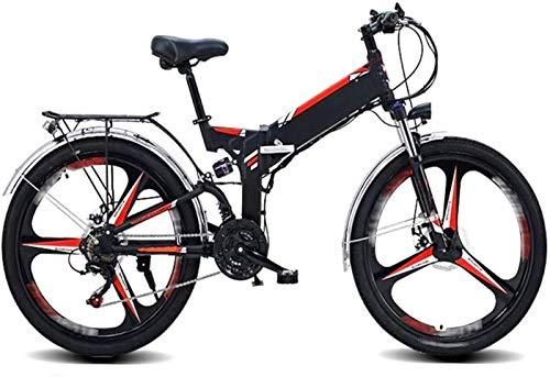 Alta velocidad 26 pulgadas bicicletas plegables eléctricos de bicicletas de montaña, 48V10AH batería de litio 21 Velocidad de la bici adulta posicionamiento GPS Deportes Ciclismo ( Color : Black )