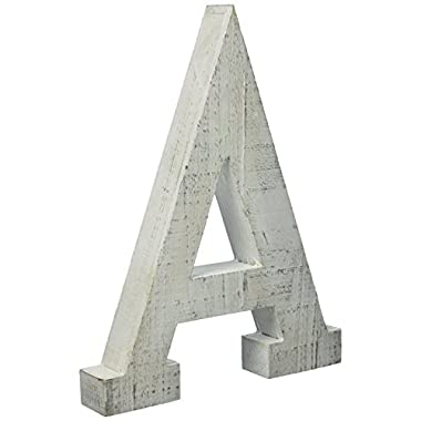 Adeco Wooden Hanging Wall Letters  A  - White Decorative Wall Letter of Living Room, Baby Name and Bedroom Decor, Whitewash