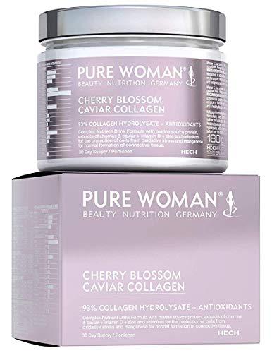 PURE WOMAN Cherry Blossom Caviar Marine Collagen Pulver 93%, hochdosierte Nährstoffpflege für die Haut, Kollagen-Antioxidantien-Komplex mit Q10, Zink & Vitamin D, Trink-Konzentrat, laktosefrei, 180 g