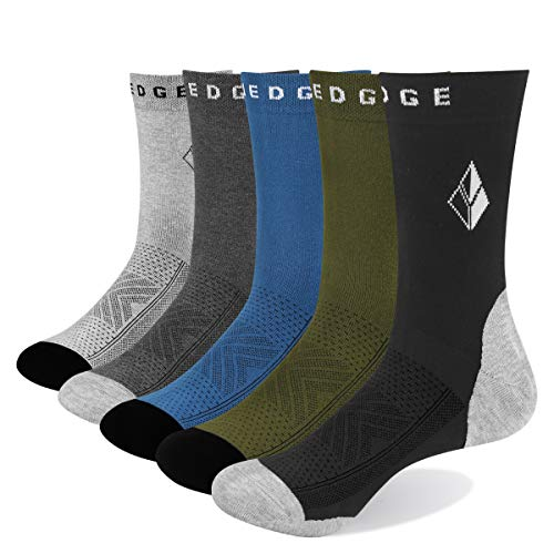 YUEDGE Mens Breathable Comfort Cotton Crew Casual Dress Socks(5 Pairs Multi Color, Men Size 6-9)