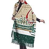 Bufanda de chal para mujer Alegría navideña Almohada de cuarto gordo Chal verde Bufanda Capa Grande Suave y acogedor Bufanda de cachemira Abrigo Chal cálido para mujer