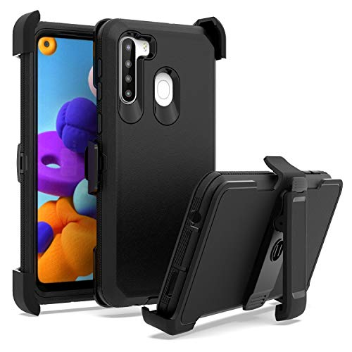 EnCASEs Belt Clip Holster Cell Phone Case for Samsung Galaxy A21, Heavy Duty Protection Case with Kickstand, Shockproof Bumper Cover, Black