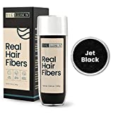 Hair Illusion Jet Black Real Hair Fibers for Thinning Hair - 100% Natural Texture, Non Synthetic Hair Fibers - Bald Spot Cover Up for Women & Men - 38 Gram
