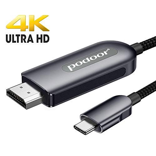 Cable USB C a HDMI, PODOOR 4K USB tipo C a HDMI Thunderbolt 3 compatible con MacBook Pro 2018/2017, MacBook Air 2018, Surface Book 2, Samsung S10 y más gris 1,8 m
