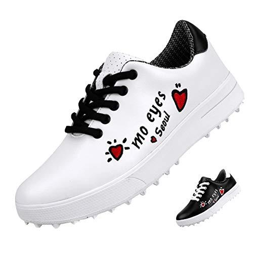 GRASSAIR Golfschuhe für Kinder wasserdichte atmungsaktive Sportschuhe Bedruckte verschleißfeste rutschfeste Turnschuhe für Jungen und Mädchen,Weiß,38