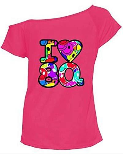 RIDDLED met STYLE Womens Ik hou van de jaren '80 T-Shirt Outfit Dames Pop Star Top Fancy Jurk