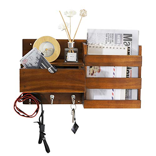 NHZ Wooden Wall Mount Entryway Mail Envelope Organizer with Drawer, Key Holder Hooks, Leash Hanging, Coat Rack, Letter & Newspaper Storage, Ornament Home Decorative Floating Shelf (Black Hook)