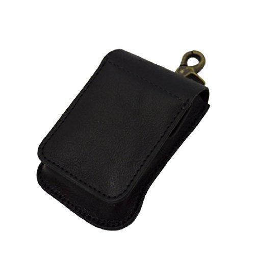 タバコケース 牛革 レザー シガレットケース 携帯灰皿付き ブラック