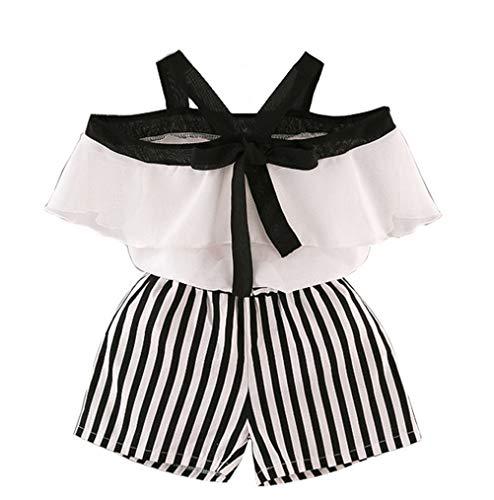 Vêtements De Bébé Filles 2 Pièces Ensembles Volants Chemise en Mousseline De Soie Licol Épaule Shorts Rayés Tenues D'Été