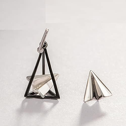LOKILOKI Pendientes Novedosos Pendientes De Avión De Papel Triangular S925 Pendiente De Plata para Mujer Simple Elegante Sueño Joyería Simple