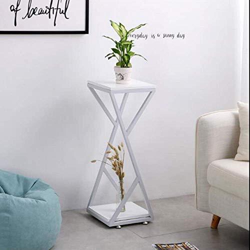 Good Salontafel Tv-staander lamp telefoontafel sofa bijzettafel eiken tafel Nordic bijzettafel, 2-traps salontafel met stalen frame opbergvak, tafel hoektafel nachtkastje, wit, 30 x 30 x 67 cm