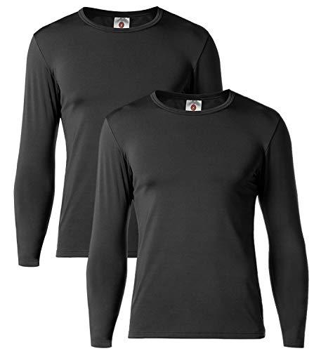 LAPASA Herren 2 Pack Mittelgewichtige Innenfleece Thermounterwäsche Oberteil Ski Funktionsunterwäsche Thermo-Hemd für Winter M55 MEHRWEG (Schwarz, L)