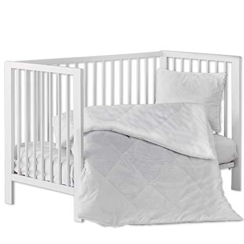 La ropa de cama de Aby completa el juego 135 X 200 CM para elegir la ropa de cama infantil de algodón de 2 piezas (Edredón y almohada (sin funda) JUEGO DE 2 PIEZAS) (Blanco, 100 x 135 cm)
