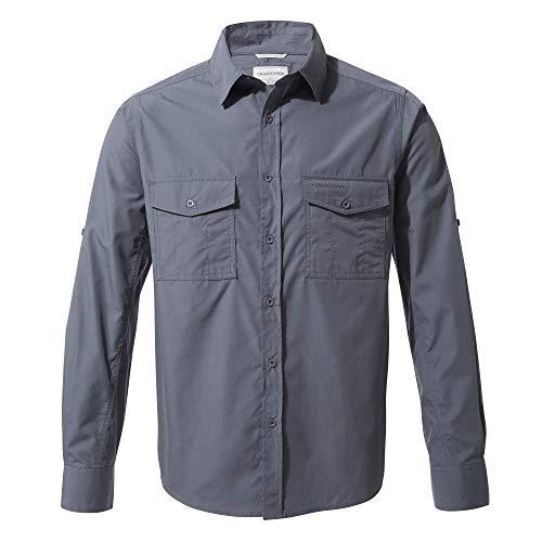 Craghoppers - Camicia a Maniche Lunghe da Uomo, con Protezione UV, Colore: Kiwi, Uomo, Camicia, CMS338 3UV70, Blu sfumato, L