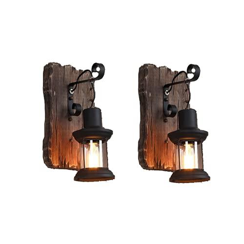 2 lámparas de pared vintage de madera de metal, cristal, lámpara de pared LED, lámpara de pared de dormitorio, simple, creativa, vintage, antiguo, pantalla de cristal, nostalgia, interior loft.