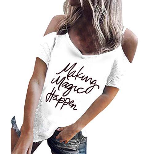 TWIFER Sommer Logo Shirt Damen Casual V-Ausschnitt Schulterfrei Brief Gedruckt Kurzarm Lose Tops Bluse
