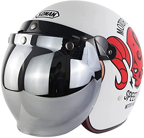 Cascos Jet Para Motocicleta, Casco Abierto Estilo 3/4 Para Adultos, Medio Casco Para Motocicleta Aprobado Por DOT/ECE, Casco Protector Para Motocicleta - Casco Protector Con Visera Retro Para E,M