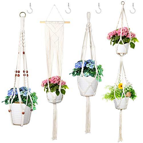 EKKONG Blumenampel, Makramee Blumenampel Baumwollseil Hängeampel, Blumentopf Pflanzen Halter Aufhänger Pflanzenhalter für Innen Außen Decken Balkone Wanddekoration (Typ 2)