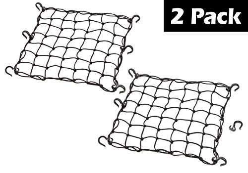 Powertye 501522 Black 15quotX15quot Cargo Net Featuring 6 Adjustable Hooks amp Tight 2quotx2quot Mesh 2Pack