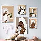 Resumen Boho Mujer Elegante Sexy Africana Negra Mujer Maquillaje Albornoz Señora Lienzo Pintura Arte de la pared Póster Impresiones Dormitorio Sala de estar Salón de belleza Decoración del hogar
