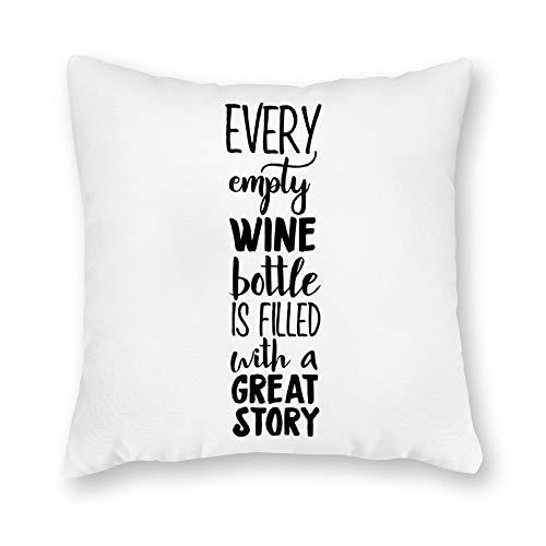qidushop Funda de almohada de lona de un solo lado, cada botella de vino vacía está llena con una gran historia, funda de cojín decorativa de lona para sofá, dormitorio, 45,7 x 45,7 cm