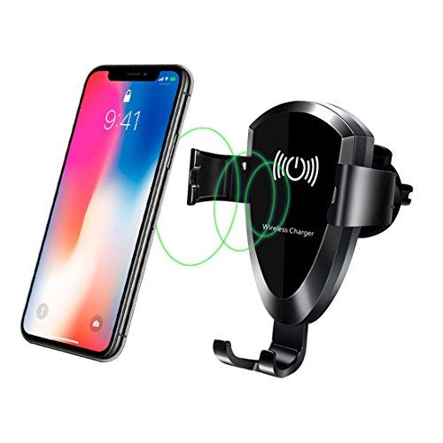Cargador de Coche inalámbrico rápido, hanende 10W de Coche de ventilación teléfono Soporte, Carga rápida para Samsung Galaxy, Note 8 5, Carga estándar para iPhone y Dispositivos Qi habilitados