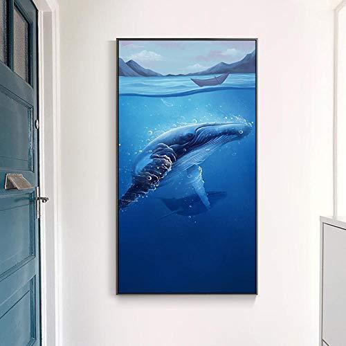 LZASMMVP Nordic Marine Animal Whale Blue Sea Canvas Art Print Nursery Art Prints Estilo Minimalista Anime Poster Modern Abstract Wall Decor   50x90cm Sin Marco
