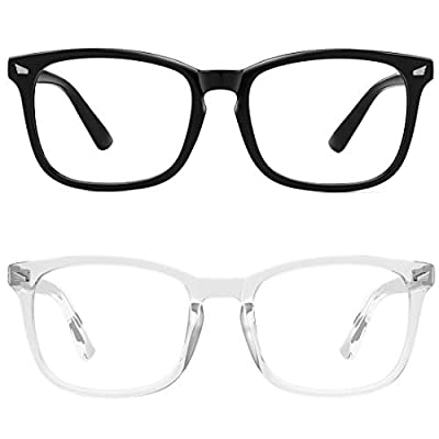 MEETSUN Blue Light Blocking Glasses, Anti Eye Strain Headache (Sleep Better),Computer Reading Glasses UV400 Transparent Lens (Black + Clear Frame/Clear Lens 2 Pack, 53)