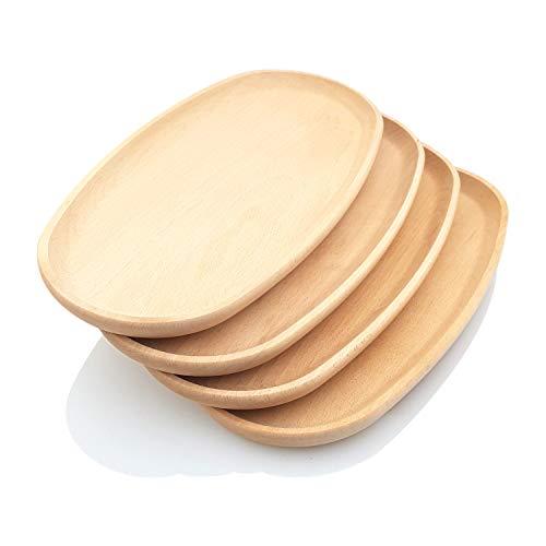 PRIMOLEGNO 4 platos ovalados grandes de 40 x 20 cm | Bandejas de madera de haya curada | Ideales para polenta, aperitivos, carnes, pescados dulces | + grandes + resistentes + grandes