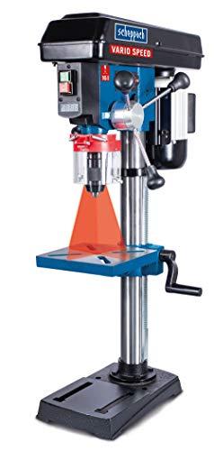 Scheppach DP19VARIO - Trapano professionale a colonna, velocità variabile (550 W, struttura in ghisa, regolazione continua della velocità di rotazione, mandrino 16 mm, laser)