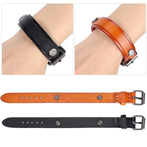 2 Stück Lederarmband, Punk Herren Armbänder, verstellbare Schnalle Punk Vintage Armband Handdekoration