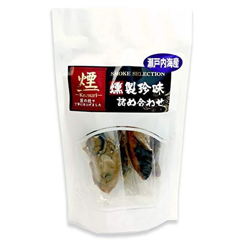 瀬戸内 燻製 海鮮一口 珍味 アソート 詰め合わせ 5種袋入り ( 牡蠣 しず すずき たい さわら )