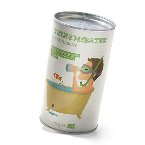 Trink Meer Tee LAND IN SICHT - Bio Kräutertee | hocharomatisch | Bio Tee mit Sanddorn, Orange, Fenchel, Brennnessel und Melisse | Vanille Aroma | loser Tee in hübscher Teedose | Geschenk I 100g