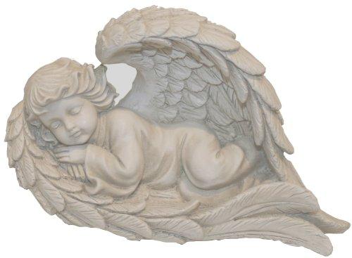 Napco Lying Angel in Wing Garden Statue, 8-1/2-Inch Long