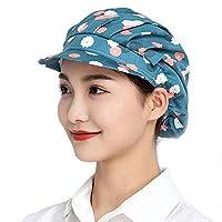 Maifunn 衛生キャップ 2枚セット 帽子 キッチン 衛生帽 給食帽 料理 飲食 作業用 清潔 髪 通気性 コット男女兼用 MZ8011-Flower 2
