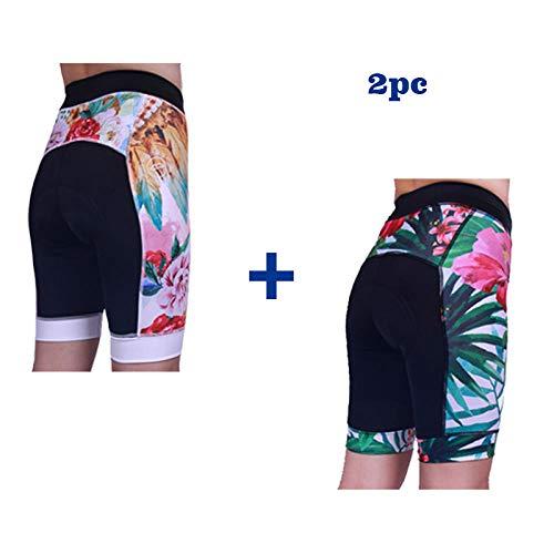 LIKEJJ Biker Shorts,Outdoor Mountain Road Bike Women's Cycling Shorts Non-Slip Silicone Pants pad-C+D_L