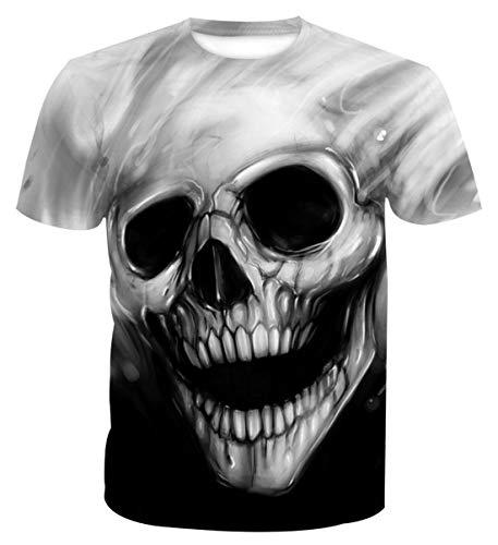 AIEOE T-Shirt Homme Imprimé Hip Hop Été Vêtement 3 D Mode Tee-Shirt à Manches Courtes Tête de Mort Taille XXXL