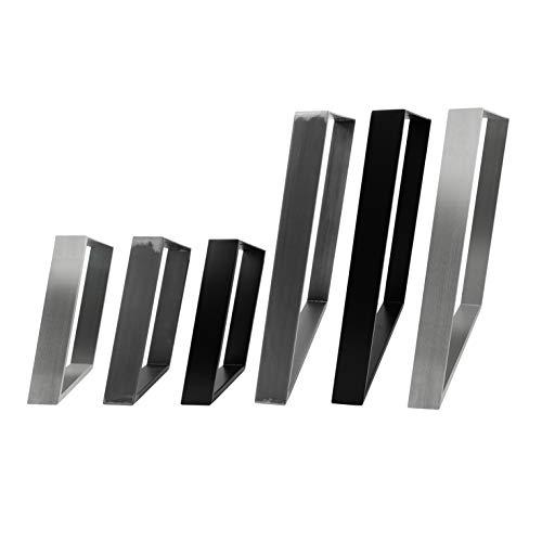 2x Natural Goods Berlin Design Tischkufen 80GRAD Neigung Metall schräge Tischbeine Möbelkuven | Tischgestell aus Stahl geneigt | Hairpin Legs (B75 x H72cm (Esstisch/Schreibtisch), Edelstahl)