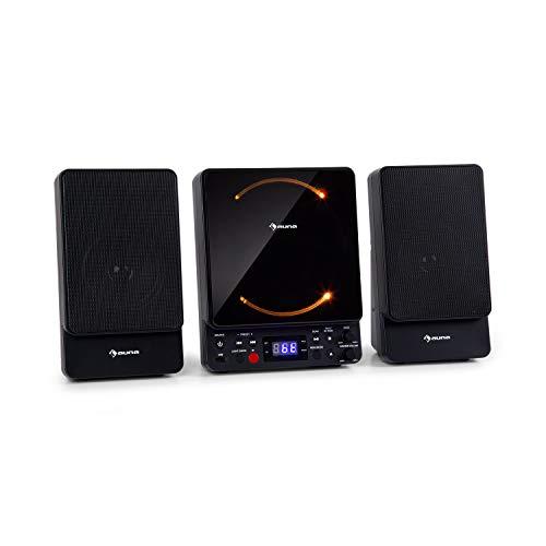AUNA Microstar - Micro-chaîne Verticale, Lecteur CD, Bluetooth, Enceintes stéréo, Port USB, Tuner FM, AUX-in, écran LCD, éclairage d'ambiance, Installation Murale ou Pose Libre - Noir