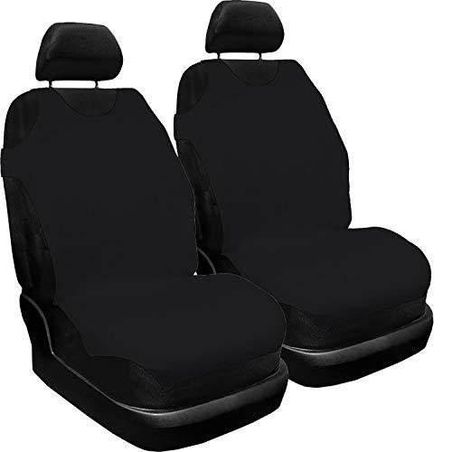 Saferide - Juego de 2 fundas universales para asientos de coche, de poliéster, adecuadas para airbag, para asientos delanteros y 1 asientos delanteros (negro)