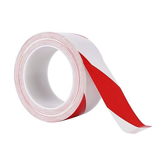 Nastro di avvertenza Adesivo Nastro di Sicurezza in PVC Nastro Segnaletico Bianco e Rosso per Sicurezza Scale Scalini Scalette 1 Pezzo 50 mm X 33 m