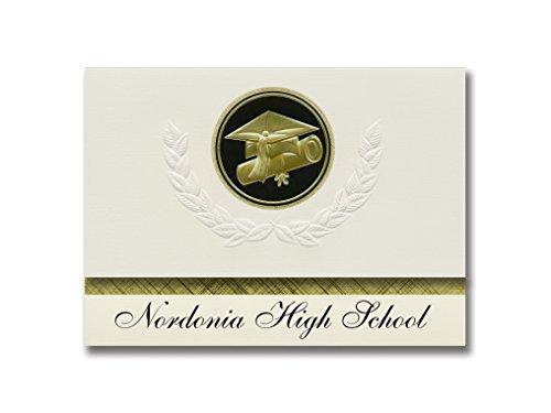Signature Announcements Nordonia High School (Mazedonien, OH) Graduation Ankündigung, Presidential Style, Elite Paket mit 25 Cap & Diplom-Siegel, Schwarz & Gold