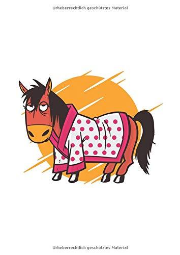 Notizbuch - Liniert: DIN A4, 144 Seiten   Dickes Notizheft / Deutschheft / Schreibheft / Schulheft mit Inhaltsverzeichnis und Softcover   Motiv: Lustiges Bademantel Pferd Reiten