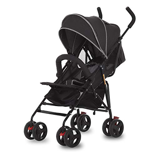 Dream On Me Vista Moonwalk Stroller | Lightweight Infant Stroller with Compact Fold | Multi-Position Recline | Canopy with Sun Visor | Perfect for Traveling & Theme Parks, Black