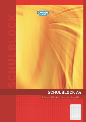 10x Schulblock kariert DIN A4 Schreibblock gelocht