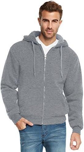9 Crowns Men's Full Zip Heavy Weight Sherpa Lined Hoodie Sweatshirt