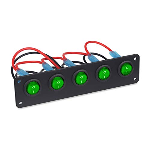 MEILIJIE XIAOXU MIN Impermeable 5 Botón De Pandillas On-Off Toggle Rocker Interruptor Panel Interruptores De Circuitos Marino Barco LED Interruptor Coche 12V 24V (Color : Green)